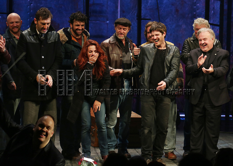 Jimmy Nail, Rachel Tucker, Michael Esper, Fred Applegate with cast during the Broadway Opening Night Performance Curtain Call for 'The Last Ship' at the Neil Simon Theatre on October 26, 2014 in New York City.
