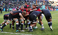 Harry Williams of England warms up with the forward pack during the 2018 Castle Lager Incoming Series 2nd Test match between South Africa and England at the Toyota Stadium.Bloemfontein,South Africa. 16,06,2018 Photo by Steve Haag / stevehaagsports.com