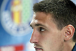 Getafe's Stefan Scepovic in press conference after La Liga match. April 16,2016. (ALTERPHOTOS/Acero)