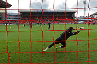 Freddie Woodman of Swansea City warms up prior to the game during the Sky Bet Championship match between Barnsley and Swansea City at Oakwell Stadium, Barnsley, England, UK. Saturday 19 October 2019