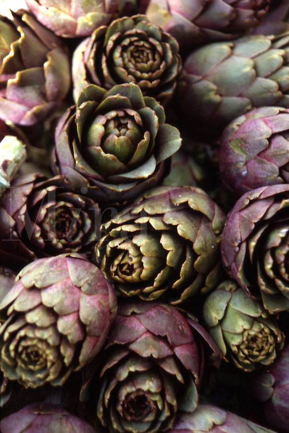 Fresh artichokes in open-air market