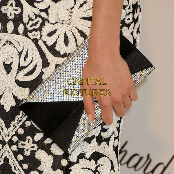Nina Dobrev's bag.21st Annual Elton John Academy Awards Viewing Party held at West Hollywood Park, West Hollywood, California, USA..February 24th, 2013.oscars hand detail silver diamante black clutch pattern embroidered .CAP/ADM/BP.©Byron Purvis/AdMedia/Capital Pictures.