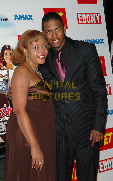 "23 August 2005 - New York, New York -  Nick Cannon arrives with his mother, Beth Hackett, at the premiere of his new film, ""The Underclassman"", at the Chelsea West Cinema in Manhattan.  .Photo Credit: Patti Ouderkirk/AdMedia"