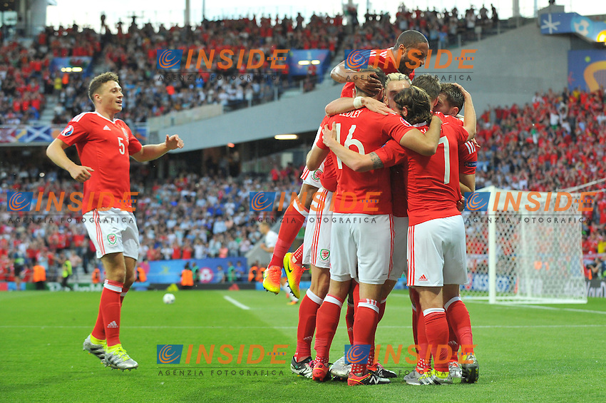 06 Ashley Williams (wal) - 05 James Chester (wal) Esultanza Gol <br /> Toulouse 20-06-2016 Stade de Toulouse Football Euro2016 Russia - Wales / Russia - Galles Group Stage Group B. Foto Philippe LECOEUR / Panoramic / Insidefoto