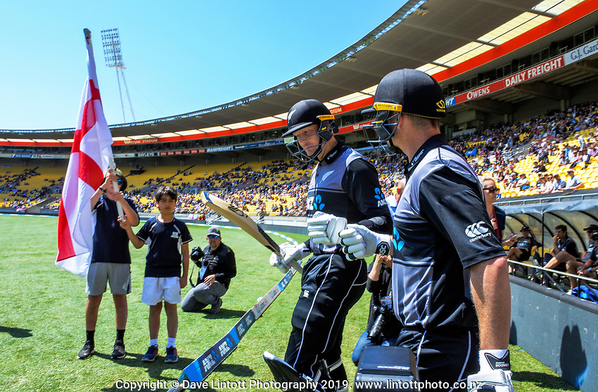 NZ openers Martin Guptill and Colin Munro walk onto the pitch. Twenty20 International cricket match between NZ Black Caps and England at Westpac Stadium in Wellington, New Zealand on Sunday, 3 November 2019. Photo: Dave Lintott / lintottphoto.co.nz