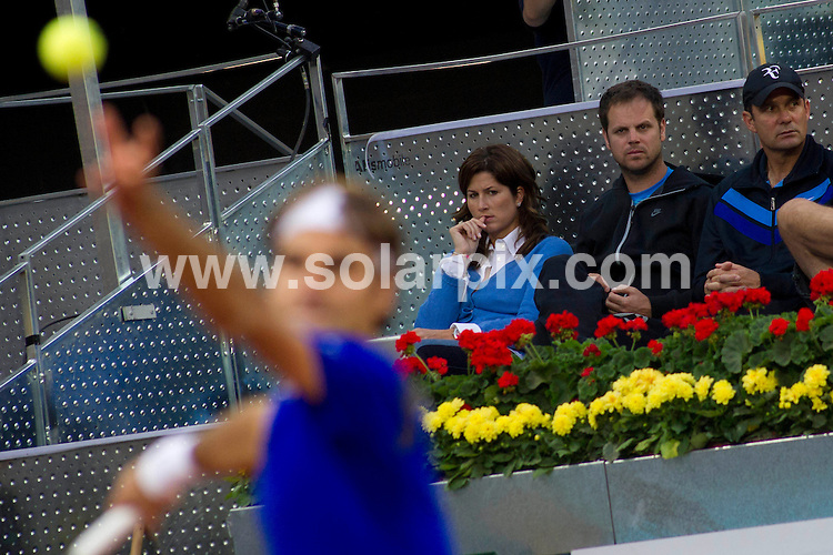 **ALL ROUND PICTURES FROM SOLARPIX.COM**                                             **WORLDWIDE SYNDICATION RIGHTS EXCEPT SPAIN - NO SYNDICATION IN SPAIN**                                                                                  Caption: Roger Federer plays in the Madrid Open tennis tournament. Madrid, Spain. 3 May 2011                                                                              This pic: Roger Federer, watched by his wife, former Women's Tennis Association player Mirka Vavrinec                                                                                      JOB REF: 13267 DMS Drake      DATE: 03_05_2011                                                           **MUST CREDIT SOLARPIX.COM OR DOUBLE FEE WILL BE CHARGED**                                                                      **MUST AGREE FEE BEFORE ONLINE USAGE**                               **CALL US ON: +34 952 811 768 or LOW RATE FROM UK 0844 617 7637**