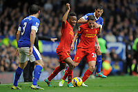 28.10.2012 Liverpool, England. Raheem Sterling of Liverpool    in action during the Premier League game between Everton and Liverpool  from Goodison Park ,Liverpool