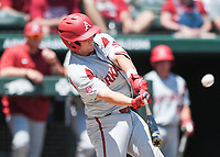 NWA Democrat-Gazette/CHARLIE KAIJO Arkansas catcher Grant Koch (33) contacts the ball during the second game of the NCAA super regional baseball, Sunday, June 10, 2018 at Baum Stadium in Fayetteville. Arkansas fell to South Carolina 5-8.