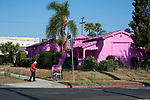 House in Los Angeles painted pink as part of an environmental art project