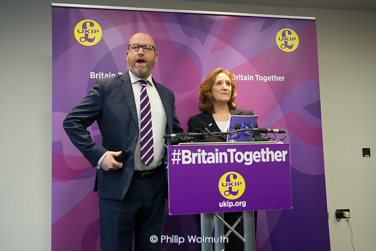 Paul Nuttall and Suzanne Evans, UKIP election manifesto launch, Westminster, London.