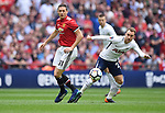 Nemanja Matic of Manchester United is challenged by Christian Eriksen of Tottenham Hotspur during the FA cup semi-final match at Wembley Stadium, London. Picture date 21st April, 2018. Picture credit should read: Robin Parker/Sportimage