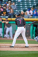 Matt Williams (7) of the Salt Lake Bees at bat against the Iowa Cubsin Pacific Coast League action at Smith's Ballpark on May 13, 2017 in Salt Lake City, Utah. Salt Lake defeated Iowa  5-4. (Stephen Smith/Four Seam Images)