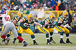 Green Bay Packers offensive linemen Josh Sitton (71), Scott Wells (63) and T.J. Lang (70) pass block during an NFL divisional playoff football game against the New York Giants on January 15, 2012 in Green Bay, Wisconsin. The Giants won 37-20. (AP Photo/David Stluka)