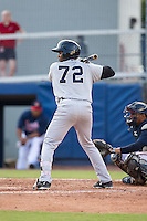 Welfrin Mateo (72) of the Pulaski Yankees at bat against the Danville Braves at American Legion Post 325 Field on July 31, 2016 in Danville, Virginia.  The Yankees defeated the Braves 8-3.  (Brian Westerholt/Four Seam Images)