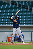 AZL Brewers catcher Robie Rojas (14) bats during a game against the AZL Cubs on August 6, 2017 at Sloan Park in Mesa, Arizona. AZL Cubs defeated the AZL Brewers 8-7. (Zachary Lucy/Four Seam Images)
