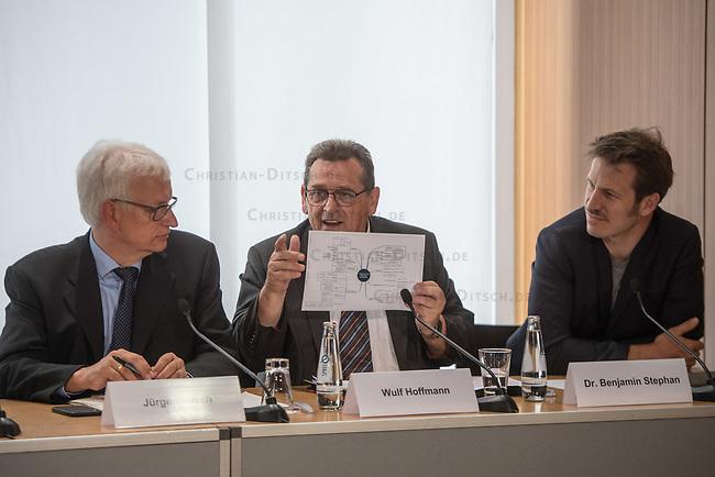 Ein breites Buendnis aus Umwelt- und Verkehrssicherheitsverbaenden fordert ein Tempolimit auf Autobahnen.<br /> Auf einer Pressekonferenz am Freitag den 21. Juni 2019 in Berlin erklaerten die Vertreter der Deutschen Umwelthilfe (DUH), des Verkehrsclub Deutschland (VCD), der Verkehrsunfall-Opferhilfe (VOD), Changing Cities und Greenpeace, dass in Deutschland als einzigem Staat in Europa auf 80 Prozent der Autobahnen ohne jede Tempolimit gefahren werden kann. Gaebe es ein Tempolimit von 80 km/h ausserorts und 120 km/h auf Autobahnen wie beispielsweise die Schweiz, koennten sofort bis zu fuenf Millionen Tonnen des Klimagases CO2 vermieden werden. Zudem wuerde es ueber 100 Todesopfer und mehr als 5.000 Verletzte verhindern. Innerstaedtisch wuerde zudem eine Regelgeschwindigkeit von 30 km/h mehr Sicherheit und weniger Verkehrslaerm bedeuten.<br /> Im Bild vlnr.: Juergen Resch, Bundesgeschaeftsfuehrer der DUH;Wulf Hoffmann, Vorstand, VOD; Benjamin Stephan, Greenpeace Verkehrsexperte.<br /> 21.6.2019, Berlin<br /> Copyright: Christian-Ditsch.de<br /> [Inhaltsveraendernde Manipulation des Fotos nur nach ausdruecklicher Genehmigung des Fotografen. Vereinbarungen ueber Abtretung von Persoenlichkeitsrechten/Model Release der abgebildeten Person/Personen liegen nicht vor. NO MODEL RELEASE! Nur fuer Redaktionelle Zwecke. Don't publish without copyright Christian-Ditsch.de, Veroeffentlichung nur mit Fotografennennung, sowie gegen Honorar, MwSt. und Beleg. Konto: I N G - D i B a, IBAN DE58500105175400192269, BIC INGDDEFFXXX, Kontakt: post@christian-ditsch.de<br /> Bei der Bearbeitung der Dateiinformationen darf die Urheberkennzeichnung in den EXIF- und  IPTC-Daten nicht entfernt werden, diese sind in digitalen Medien nach §95c UrhG rechtlich geschuetzt. Der Urhebervermerk wird gemaess §13 UrhG verlangt.]