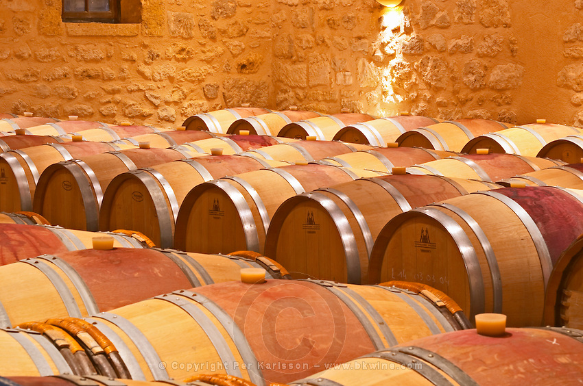 in the wine cellar: Barriques barrels - Chateau Grand Mayne, Saint Emilion, Bordeaux