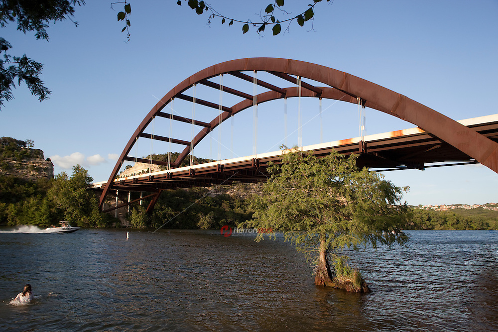 360 Bridge is a paradise for boaters and swimmers on lake austin, Texas, USA