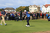 Conor Purcell (GB&I) on the 16th during the Foursomes at the Walker Cup, Royal Liverpool Golf CLub, Hoylake, Cheshire, England. 07/09/2019.<br /> Picture Thos Caffrey / Golffile.ie<br /> <br /> All photo usage must carry mandatory copyright credit (© Golffile | Thos Caffrey)
