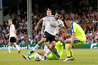 Aleksander Mitrovic of Fulham takes on the Derby County defence during the Sky Bet Championship play off semi final 2nd leg match between Fulham and Derby County at Craven Cottage, London, England on 15 May 2018. Photo by Carlton Myrie / PRiME Media Images.