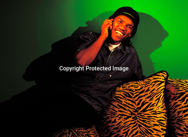 dimukwa00038 Kwaito. TK ZEE, a Kwaito musician recording a CD in his studio on June 5, 2002 in Sandton, South Africa.  .©Per-Anders Pettersson/iAfrika Photos