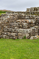 Northumberland,  England, UK.  The Tribunal in the Headquarters Building, from which the Commanding Officer Announced the Day's Orders to the Soldiers, Housesteads Roman Fort (Vercovicium).