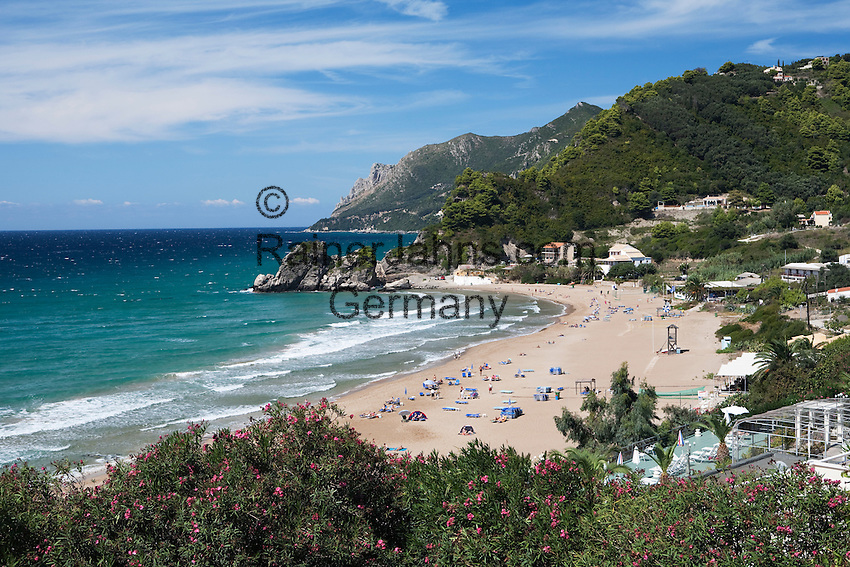 Greece, Corfu, Kontos Gialos (Pelekas) Beach: View over West coast beach resort
