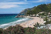 Greece, Corfu, Kontos Gialos (Pelekas) Beach: View over West coast beach resort