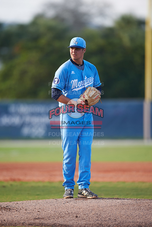 SCF Manatees starting pitcher Brendon Little (15) gets ready to deliver a pitch during a game against the College of Central Florida Patriots on February 8, 2017 at Robert C. Wynn Field in Bradenton, Florida.  SCF defeated Central Florida 6-5 in eleven innings.  (Mike Janes/Four Seam Images)