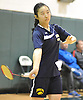 Jia Zhang of Jericho serves during the Nassau County varsity girls badminton singles final against Stacy He of Great Neck North at Bellmore JFK High School on Saturday, May 14, 2016. Zhang won 19-21, 21-18, 21-20 to repeat as county champion.