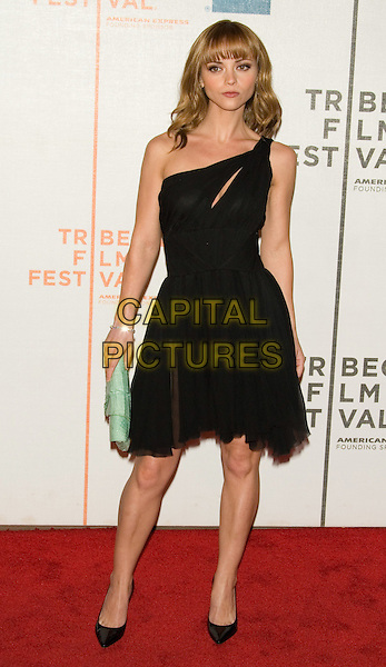 "CHRISTINA RICCI.2008 Tribeca Film Festival - Premiere of ""Speed Racer"" at the Tribeca Performing Arts Center,  New York, NY, USA,.May 3, 2008..full length black dress shoes one shoulder slit split shoes green clutch bag.CAP/LNC/TOM.©LNC/Capital Pictures"