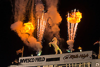 """Fireworks over the statue of """"Bucky"""" the Bronco, Denver Broncos vs. Pittsburgh Steelers NFL football game, Invesco Field at Mile High (stadium), Denver, Colorado USA"""