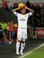 Kyle Naughton during the Barclays Premier League match between Swansea City and Watford at the Liberty Stadium, Swansea on January 18 2016
