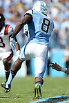 04 October 2014: UNC's T.J. Logan (8) runs back a kickoff. The University of North Carolina Tar Heels hosted the Virginia Tech Hokies at Kenan Memorial Stadium in Chapel Hill, North Carolina in a 2014 NCAA Division I College Football game. Virginia Tech won the game 34-17.