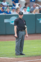 Home plate umpire Bobby Tassone during a Pioneer League game between the Ogden Raptors and the Great Falls Voyagers at Lindquist Field on August 23, 2018 in Ogden, Utah. The Ogden Raptors defeated the Great Falls Voyagers by a score of 8-7. (Zachary Lucy/Four Seam Images)