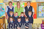 Junior infants at Moyvane primar school on Monday front l-r Claire Glavin, David Sexton McEnery, Orla Shine.  Back l-r Ryan Quinn, Aidan Awan, Mi?chea?l Kissane, and Jack O' Connor with staff l-r Ann Stack, Martina Garvey and Ann Prendiville (teacher)..   Copyright Kerry's Eye 2008