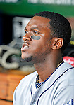 15 May 2012: San Diego Padres outfielder Cameron Maybin watches from the dugout prior to a game against the Washington Nationals at Nationals Park in Washington, DC. The Padres defeated the Nationals 6-1 to split their 2-game series. Mandatory Credit: Ed Wolfstein Photo