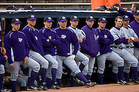 The High Point Panthers watch the action from the visitors dugout at War Memorial Stadium March 16, 2010, in Greensboro, North Carolina.  Photo by Brian Westerholt / Four Seam Images