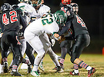San Pedro, CA 11/27/15 - \mc52\ and Tre Gonzales (Palos Verdes #46) in action during the CIF Western Division semi-final game between Mira Costa and Palos Verdes.  Palos Verdes defeated Mira Costa to advance to the Western Division finals.