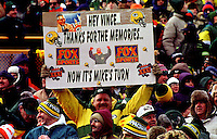"A Packers fan with his home made sign at the NFC Championship Game at Lambeau Field on January 12, 1997. This was the first title game in Green Bay since the ""Ice Bowl"" in 1967."