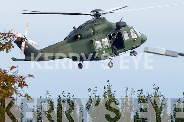 Irish Army Hellicopter landing at Tralee General Hospital.