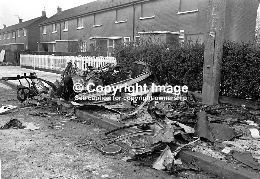 Scene of 100lb car bomb in Harmin Park, Glengormley, Newtownabbey, N Ireland, which caused the death of 15 months old Graeme Dougan on 1st January 1977. Graeme was sitting on his mother's knee in the family car. They were about to drive off in response to a police warning to evacuate the area when he was struck by debris and died. 197701010026..Copyright Image from Victor Patterson, 54 Dorchester Park, Belfast, UK, BT9 6RJ..Tel: +44 28 9066 1296.Mob: +44 7802 353836.Voicemail +44 20 8816 7153.Skype: victorpattersonbelfast.Email: victorpatterson@me.com.Email: victorpatterson@ireland.com (back-up)..IMPORTANT: If you wish to use this image or any other of my images please go to www.victorpatterson.com and click on the Terms & Conditions. Then contact me by email or phone with the reference number(s) of the image(s) concerned.
