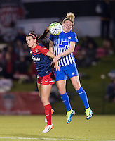Boyds, MD - April 16, 2016: Washington Spirit forward Cali Farquharson (17) and Boston Breakers defender Kassey Kallman (5). The Washington Spirit defeated the Boston Breakers 1-0 during their National Women's Soccer League (NWSL) match at the Maryland SoccerPlex.
