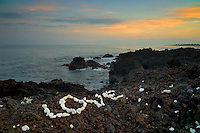 Love sign and ocean with sunrise. Hawaii, The Big Island.