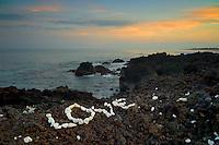 Love sign and ocean with sunrise. Hawaii, The Big Island.