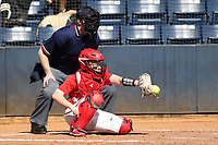 GREENSBORO, NC - FEBRUARY 22: Drew Westford #9 of Fairfield University catches a pitch during a game between Fairfield and North Carolina at UNCG Softball Stadium on February 22, 2020 in Greensboro, North Carolina.