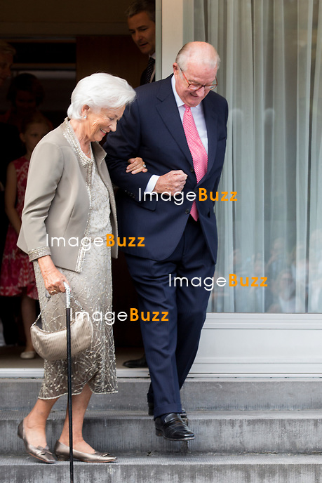 La Reine Paola de Belgique f&ecirc;te son 80e anniversaire avec 74 jours d&rsquo;avance, &agrave; la chapelle musicale reine Elisabeth &agrave; Waterloo, entour&eacute;e de ses enfants et petits enfants et autres membres de la famille royale.<br /> Belgique, Bruxelles, 29 juin 2017.<br /> Queen Paola of Belgium, wife of King Albert of Belgium, celebrates her 80th birthday  with with the entire Belgian Royal family at the Queen Elisabeth Music Chapel in Waterloo, Belgium.<br /> Belgium, Waterloo, 29 June 2017.<br /> PIC :  King Albert II of Belgium, Queen Paola of Belgium