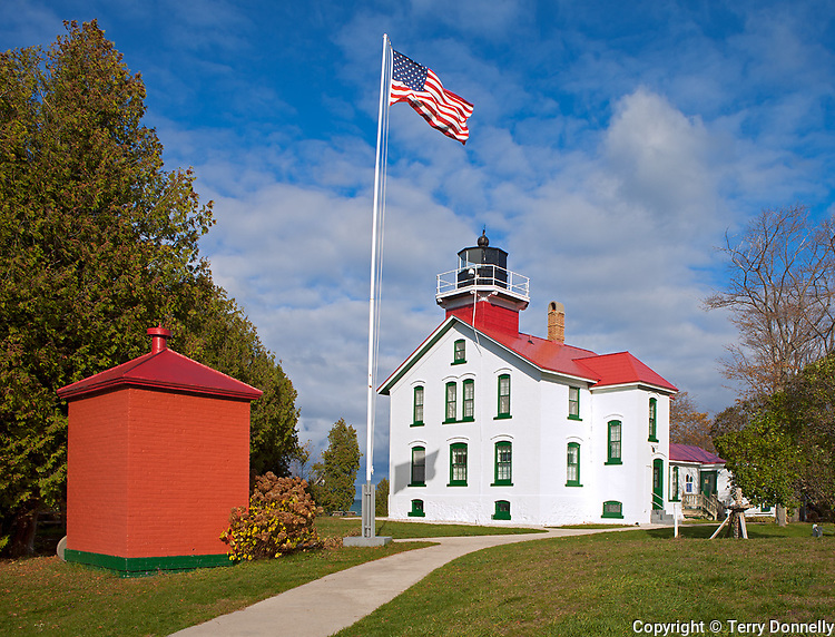 Leelanau County, Michigan: Grand Traverse Lighthouse (1858) in Leelanau State Park, Leelanau Peninsula.
