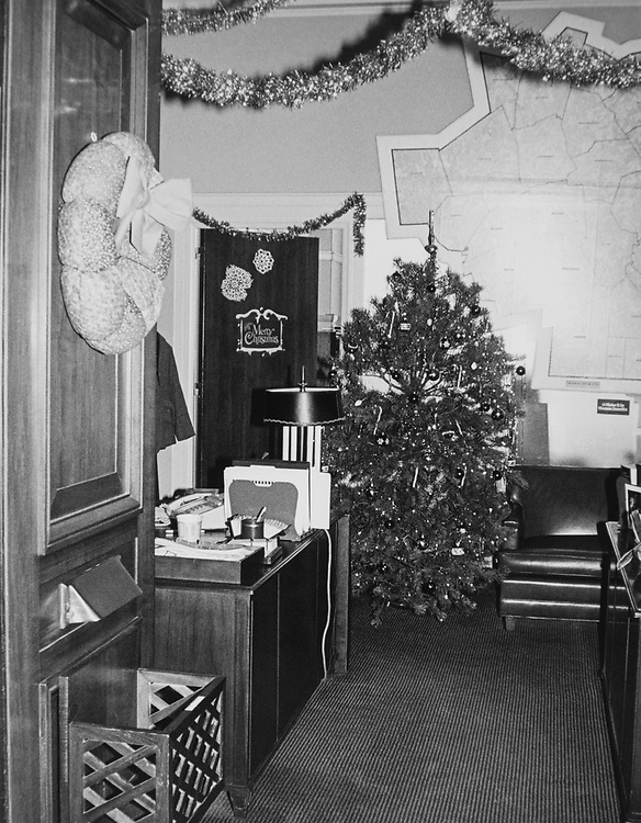 Decorated office of Rep. Joseph D. Early, D-Mass., with Christmas tree during Christmas contest in 1983. (Photo by CQ Roll Call via Getty Images)
