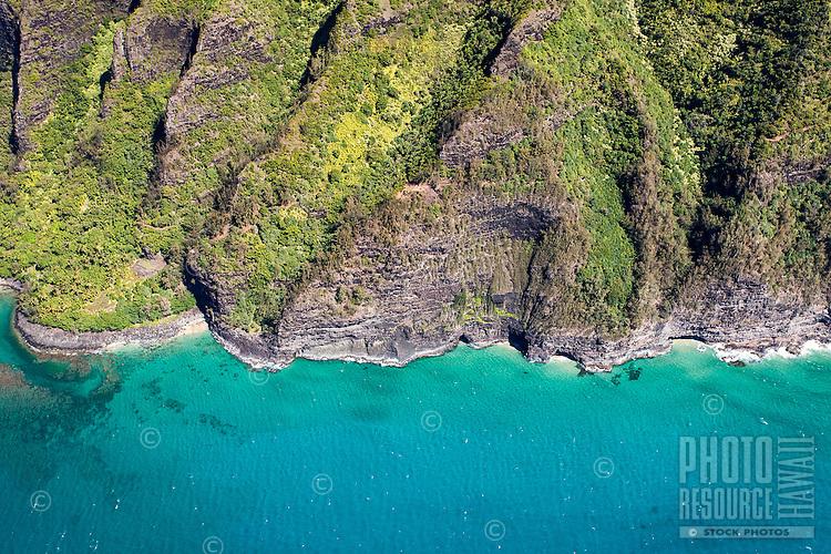 An aerial view of Na Pali Coast, Kaua'i